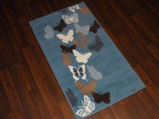 Modern Aprox 4x2 60cmx110cm Novelty Butterflys New Rugs Woven Backed Cream/Blue